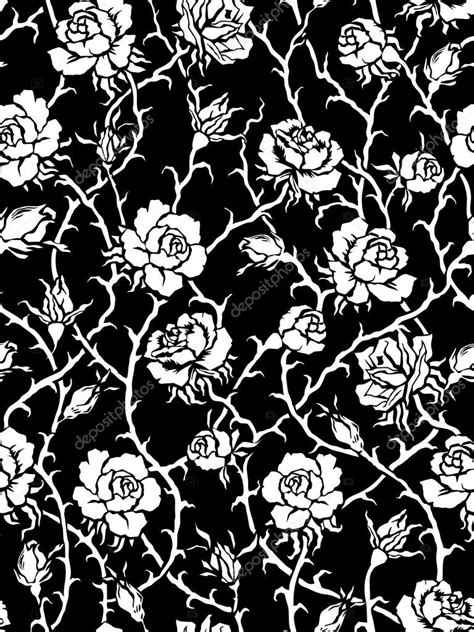 black and white rose pattern black and white roses seamless pattern stock photo