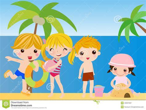 Imagenes De Niños Jugando En Verano | el jugar de los ni 241 os del verano ilustraci 243 n del vector