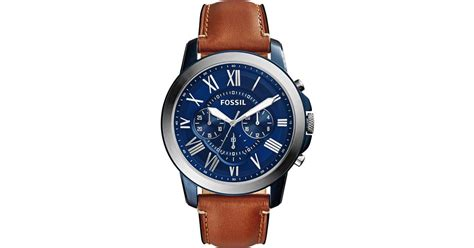 Fossil Grant Chronograph Black Silver Brown Leather Ori Bm fossil s chronograph grant light brown leather 44mm fs5151 in blue for ss