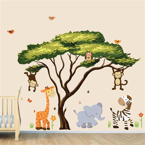 jungle animals wall stickers tree with jungle animals wall decal wall stickers