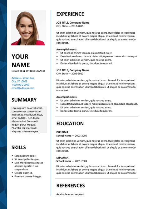 Resume Vitae Sle In Word Format Free Dalston Free Resume Template Microsoft Word Blue Layout Classic Resume Templates
