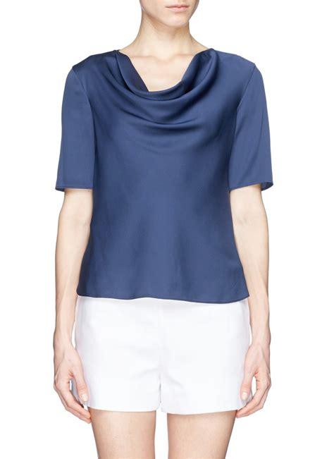 Blouse Blue Ribbon 2 lyst armani cowl neck silk charmeuse blouse in blue