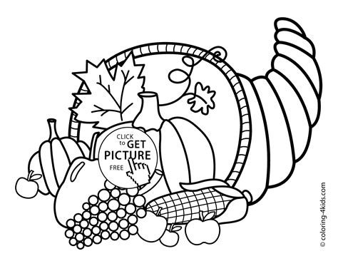 thanksgiving day coloring pages for kids vegetables