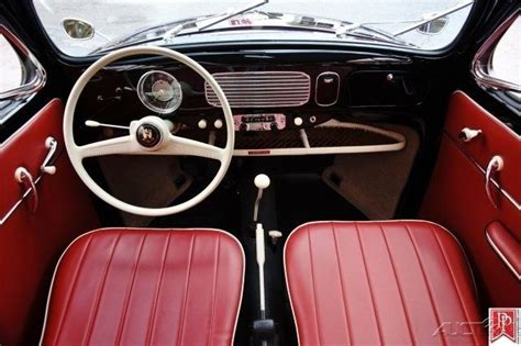 volkswagen oval window beetle  door black  red interior    sale