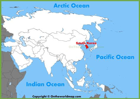 where is south korea on the map south korea location on the asia map