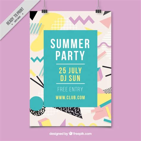 event design memphis cartel memphis de fiesta de verano descargar vectores gratis