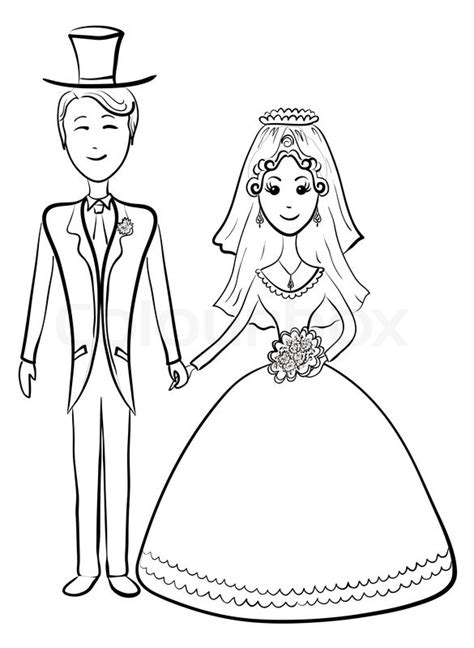 And Groom Outline Drawing by The And Groom During The Wedding Ceremony Contours Stock Photo Colourbox