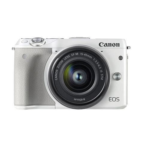 Kamera Canon Eos M3 Kit jual canon eos m3 ef m15 45 is stm kit kamera mirrorless white 24 2mp wifi touchscreen lcd