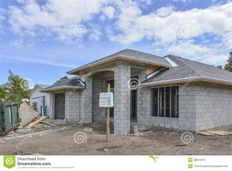 poured concrete homes plans new cinder block house plans home under construction stock photo image of door site
