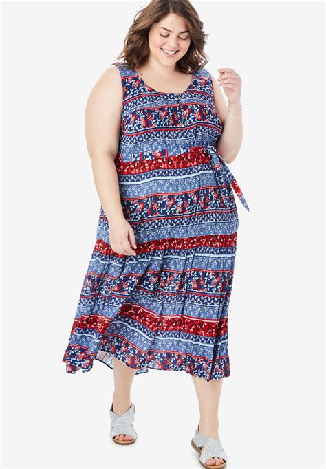 Within Tank Dress by Button Front Flounced Hem Crinkle Tank Dress Plus Size Casual Dresses Within