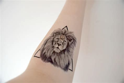 henna lion tattoo large temporary animal from