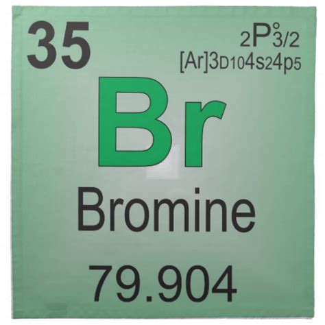 Periodic Table Br by Bromine Individual Element Of The Periodic Table Napkin