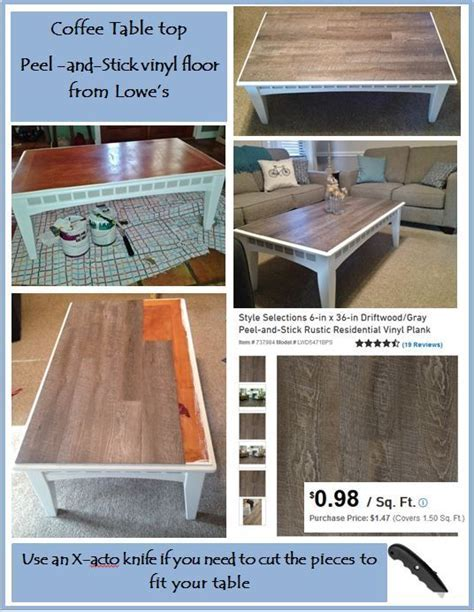 "DIY coffee table with ""Peel and Stick"" vinyl floor. Simple"