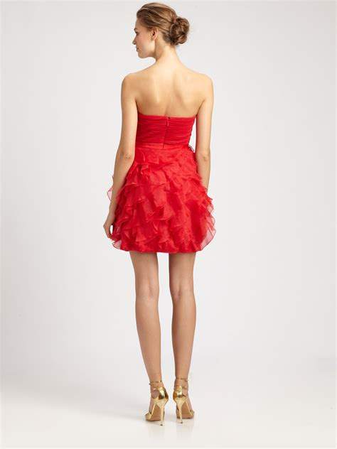Strapless Frill Dress In The Style Of Miller by Lyst Bcbgmaxazria Strapless Ruffle Dress In