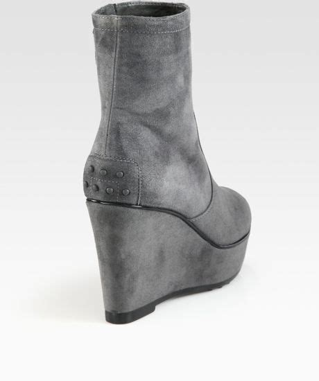 tod s suede wedge ankle boots in gray grey lyst