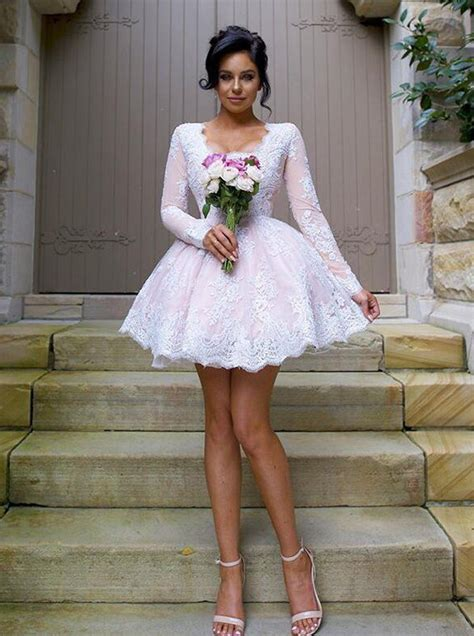 nectarean  neck long sleeves short pink ball gown