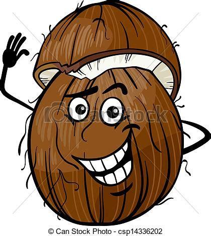 clipart divertenti clipart vettoriali di divertente noce di cocco frutta