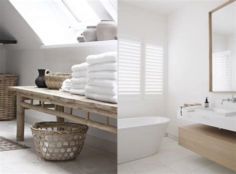 Une salle de bains en blanc et bois   Joli Place