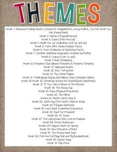themes kindergarten month seasonal themes listed by month list of quot anytime quot themes