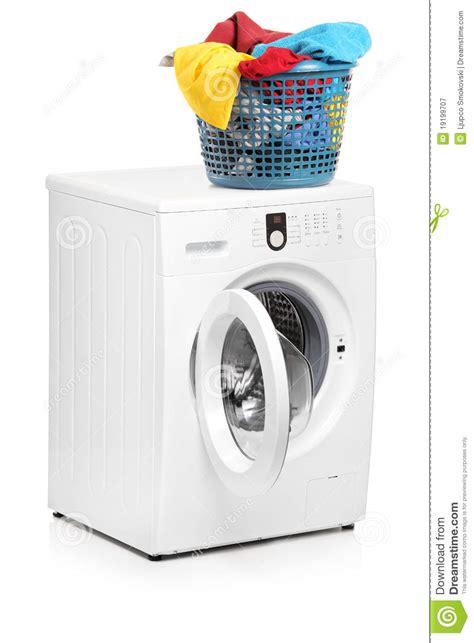 washing machine laundry laundry basket on a washing machine stock image image
