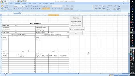 format excel gst gst bill excel sheet format automatic work youtube
