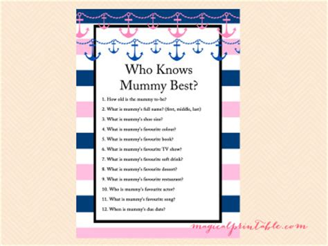 Free Printable Baby Shower Who Knows The Best by Nautical Baby Shower Magical Printable