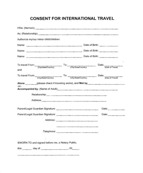 Parental Consent Letter International Travel Sle Travel Consent Forms 10 Free Documents In Pdf Doc