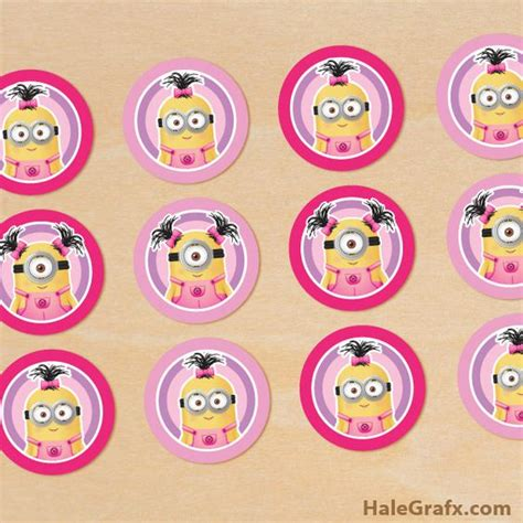 templates for baby shower cupcakes girl minion cupcake toppers free printable despicable me