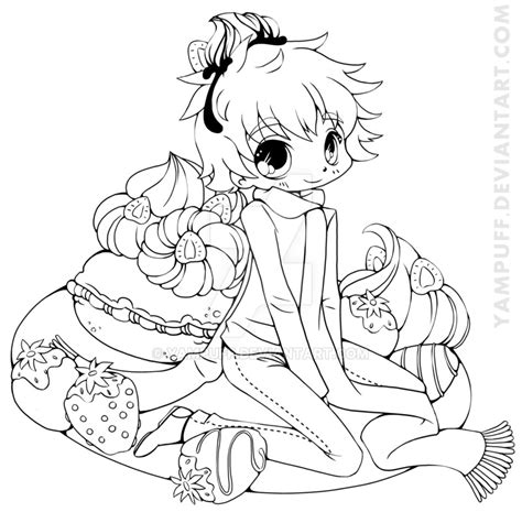 chibi christmas coloring pages strawberry boy chibi commission lineart by yampuff on