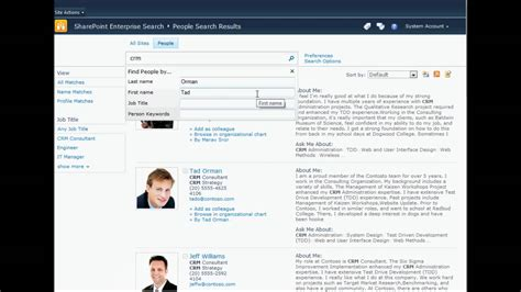 Find Peoples Profiles Sharepoint Search Profile View