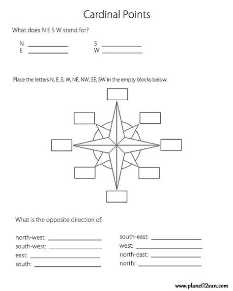 cardinal directions printable worksheets cardinal directions worksheets for kindergarten cardinal