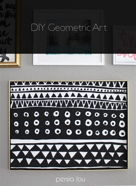 Really Cool Bedroom Ideas diy black and white geometric art persia lou