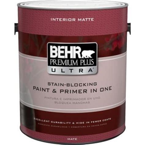 behr premium plus ultra 1 gal ultra white matte interior paint and primer in one 175001