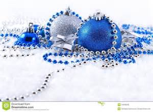 silver and blue christmas decorations stock image image