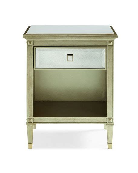 Antiqued Mirrored Nightstand by Caracole Emilee Antiqued Mirrored Stand Neiman