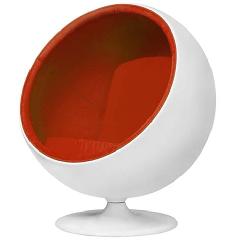 Eames Chair And Ottoman Funky Orange And White Modern Fibre Glass Aarnio Ball