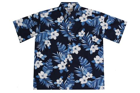 Blue Flower T Shirt s navy blue hawaiian shirts with hibiscus flowers