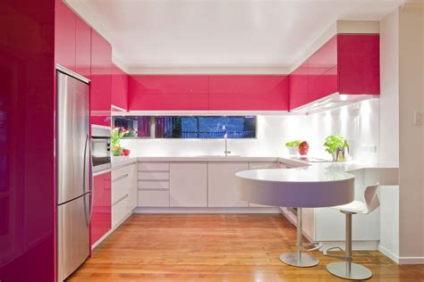 Interior Kitchens Pink Modern Kitchen Interior Design Ideas