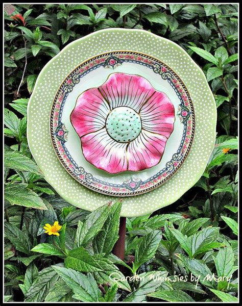 Pink Petals Plate Flower Garden Stake As Featured In Flower Plate Garden