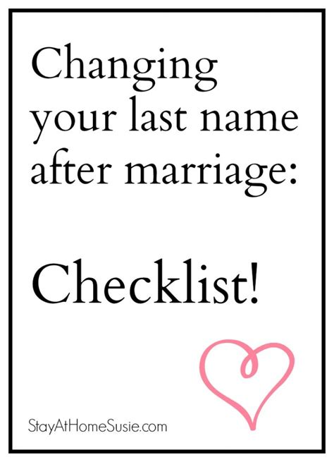 Change Your Name After Marriage ? Checklist   Stay At Home