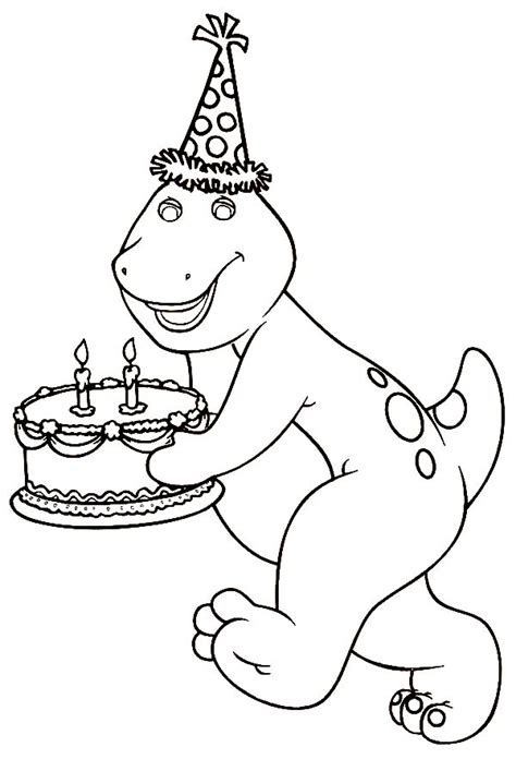 happy birthday barney coloring pages barney bringing a birthday cake barney coloring pages