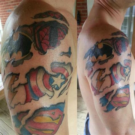 marvel tattoos logos arm tattoomagz