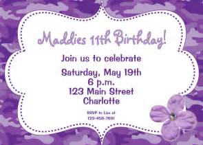 purple camo girls birthday party invitation funky purple