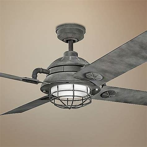 65 quot kichler maor led weathered zinc ceiling fan 7k332