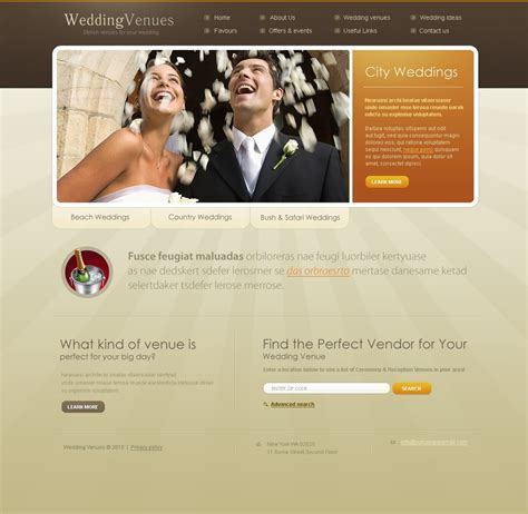 Wedding Venues Website Template #28524