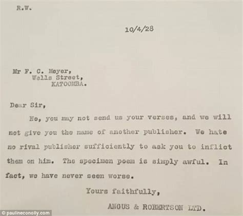 Rejection Letter Of The Year Rejection Letter From Sydney Publisher To Poet Daily Mail