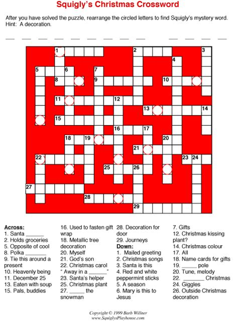 best christmas puzzles and answers crossword puzzle
