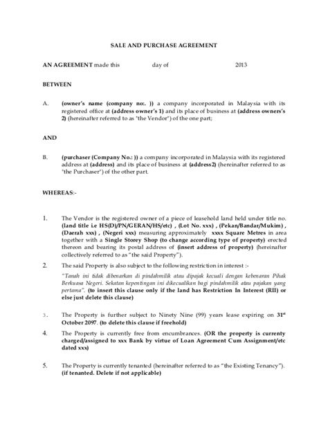 Sle Of Tenancy Agreement Letter In Malaysia Sle Subsale Agreement Company Company