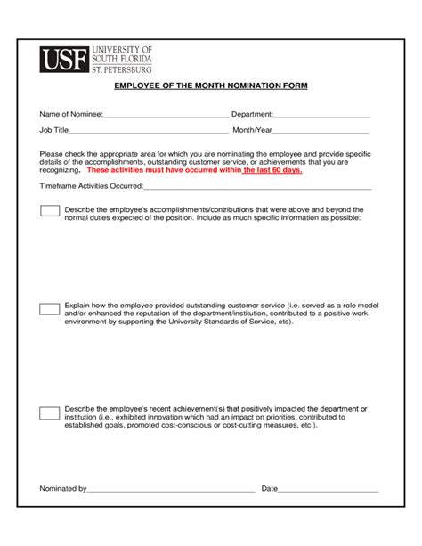 Job Resume Verbiage by Employee Of The Month Nomination Form Florida Free Download