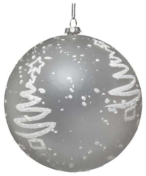 frosted ball ornament with tree design contemporary